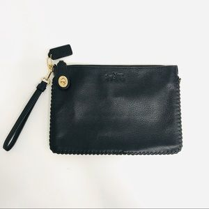 Coach Black Pebbled Leather Turnlock Wristlet